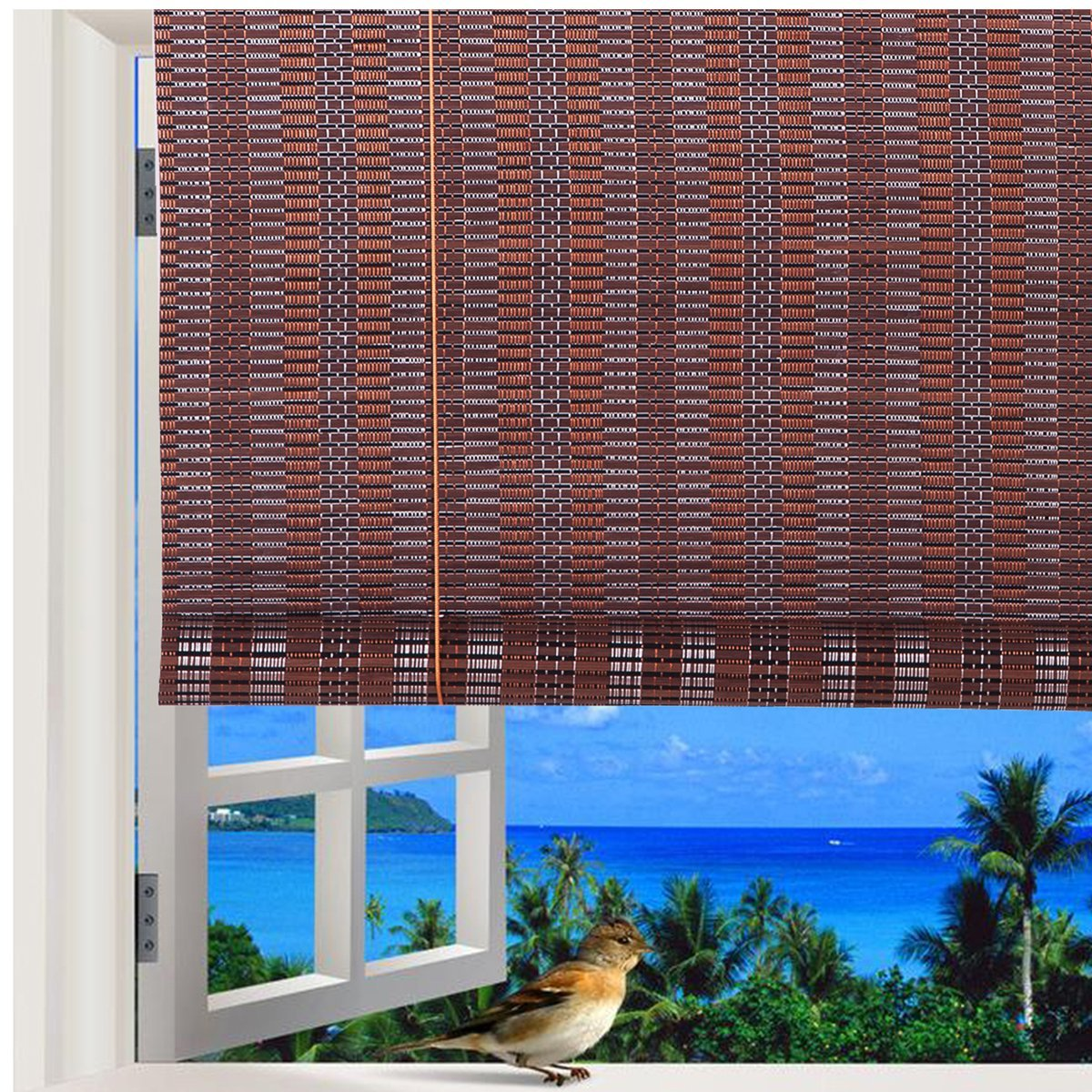 Natural Bamboo Roll Up Window Blind Roman Sun Shade WB-48N1 (W32'' X H72'') by THY COLLECTIBLES