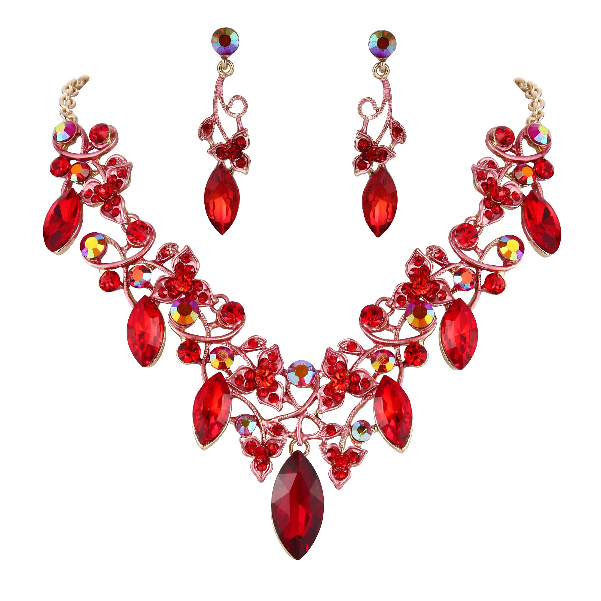 BriLove Women's Bohemian Boho Statement Necklace Dangle Earrings Jewelry Set with Crystal Floral Vine Leaf Ruby Color Gold-Tone