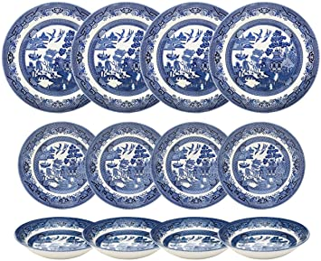 Churchill Blue Willow Dinnerware (12 Piece Set)  sc 1 st  Amazon.com & Amazon.com | Churchill Blue Willow Dinnerware (12 Piece Set ...