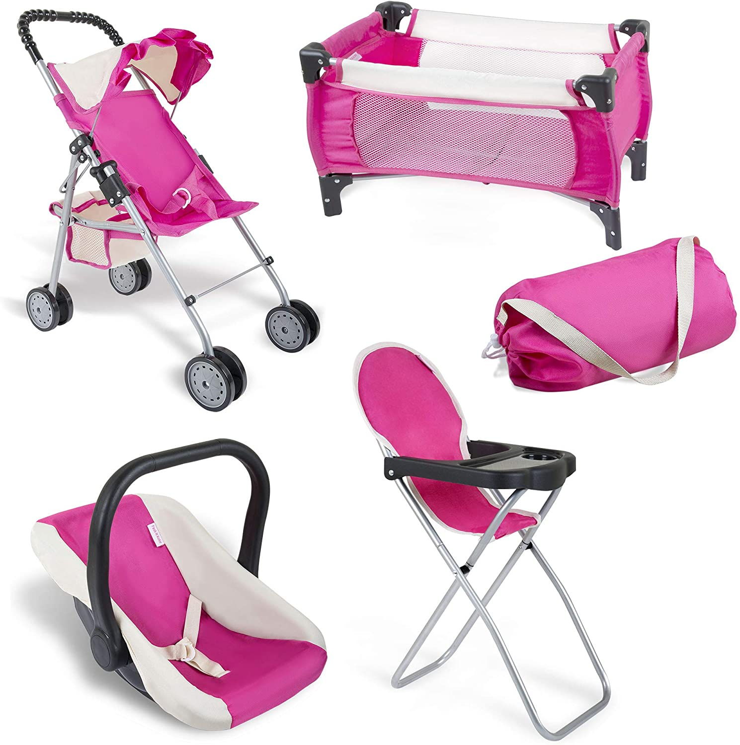 Exquisite Buggy Pink-Cream Doll Set with Pack n Play Carry Bag| 4 in 1 Pink Baby Doll Playing Set for Kids | Doll Stroller, Baby High Chair, Infant Seat, and Baby Doll Pram