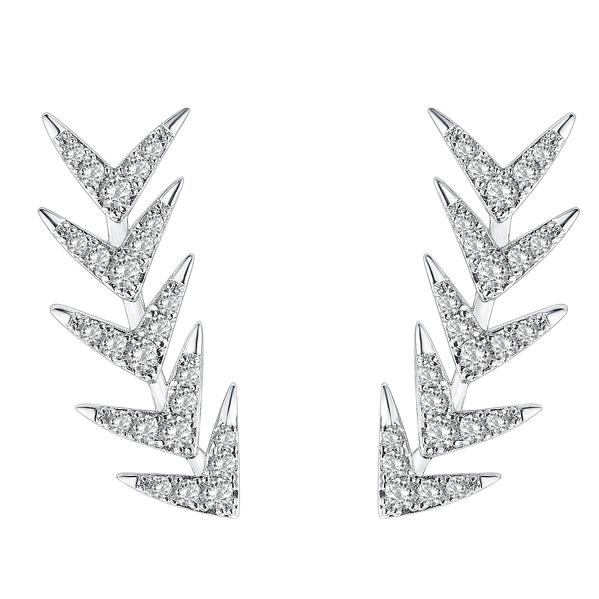 PAVOI Rhodium Plated Sterling Silver Post Climber Arrow Ear Crawler Earrings