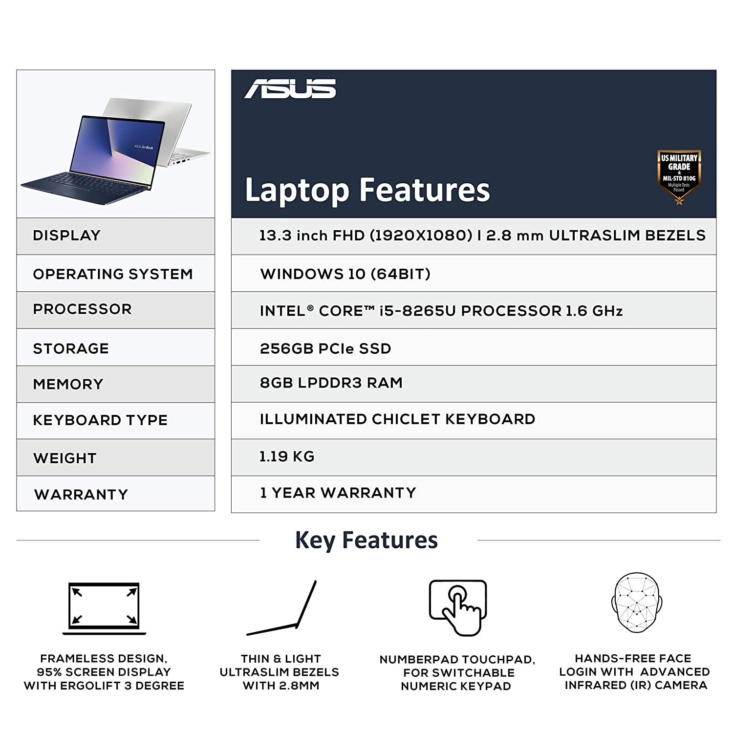 ASUS ZenBook 13 UX333FA-A4011T 13 3-inch FHD Thin and Light Laptop (8th Gen  Intel Core i5-8265U/8GB RAM/256GB PCIe SSD/Windows 10/Integrated