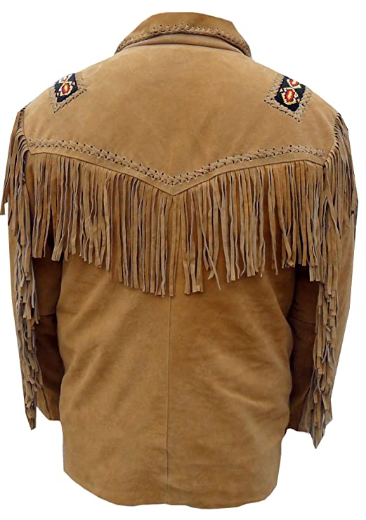 Classyak Mens Western Fringed Boned Leather Jacket at ...