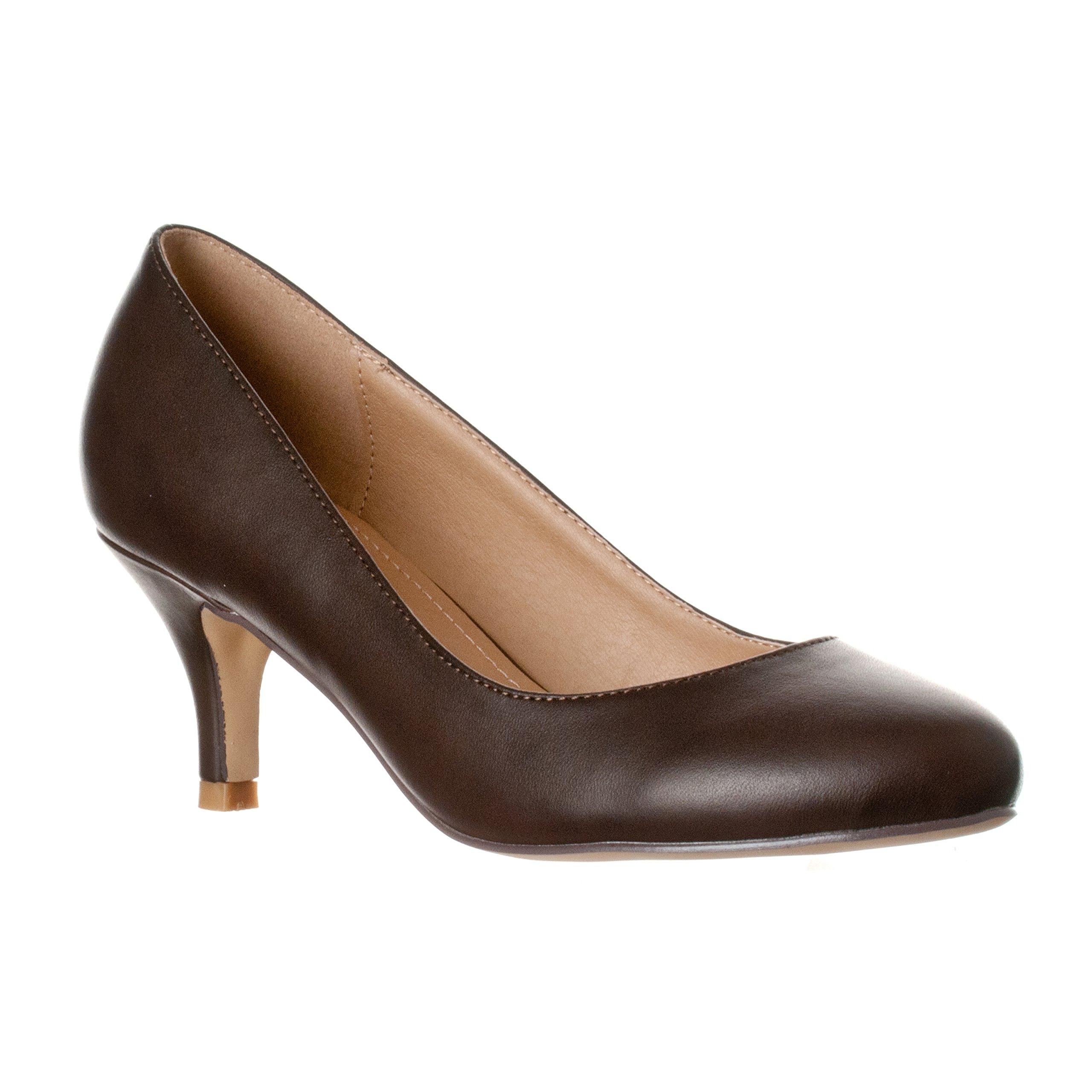 Riverberry Women's Ruby Round Toe, Kitten Low Height Pump Heels, Coffee PU, 8.5