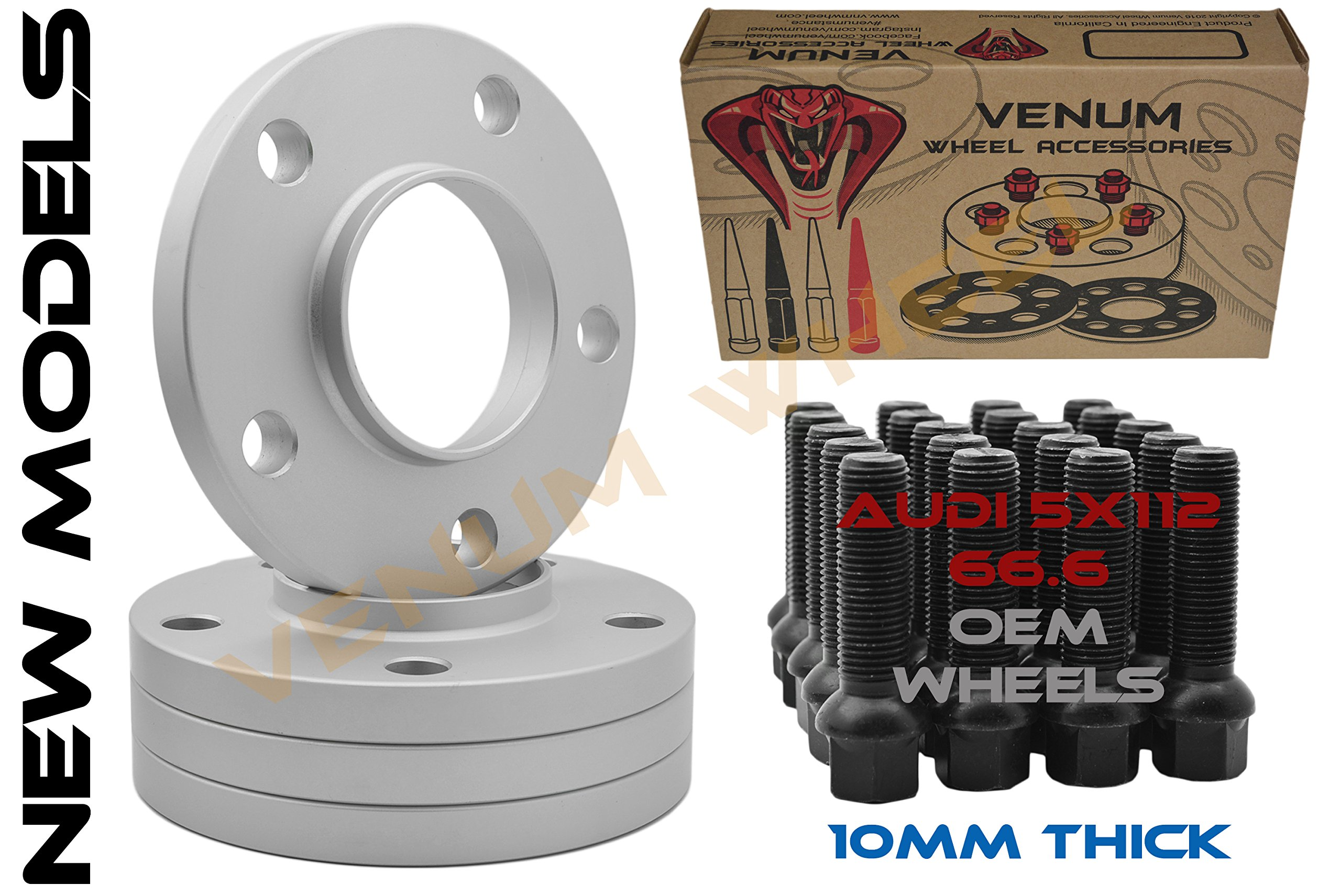 Complete Kit Of Audi | 10 MM Thick | HubCentric Wheel Spacers 5x112 66.56 New Model Audi | Black Ball Seat Lug Bolts 14x1.5 | 2009-2018 A4 A5 A6 A7 A8 All Road S4 S5 S6 S7 RS5 RS7 Q5 SQ5 W/ OEM Wheels