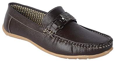 eacb59e43e8 Goosebird Mens Brown Leatherette Slip on Loafer: Buy Online at Low ...
