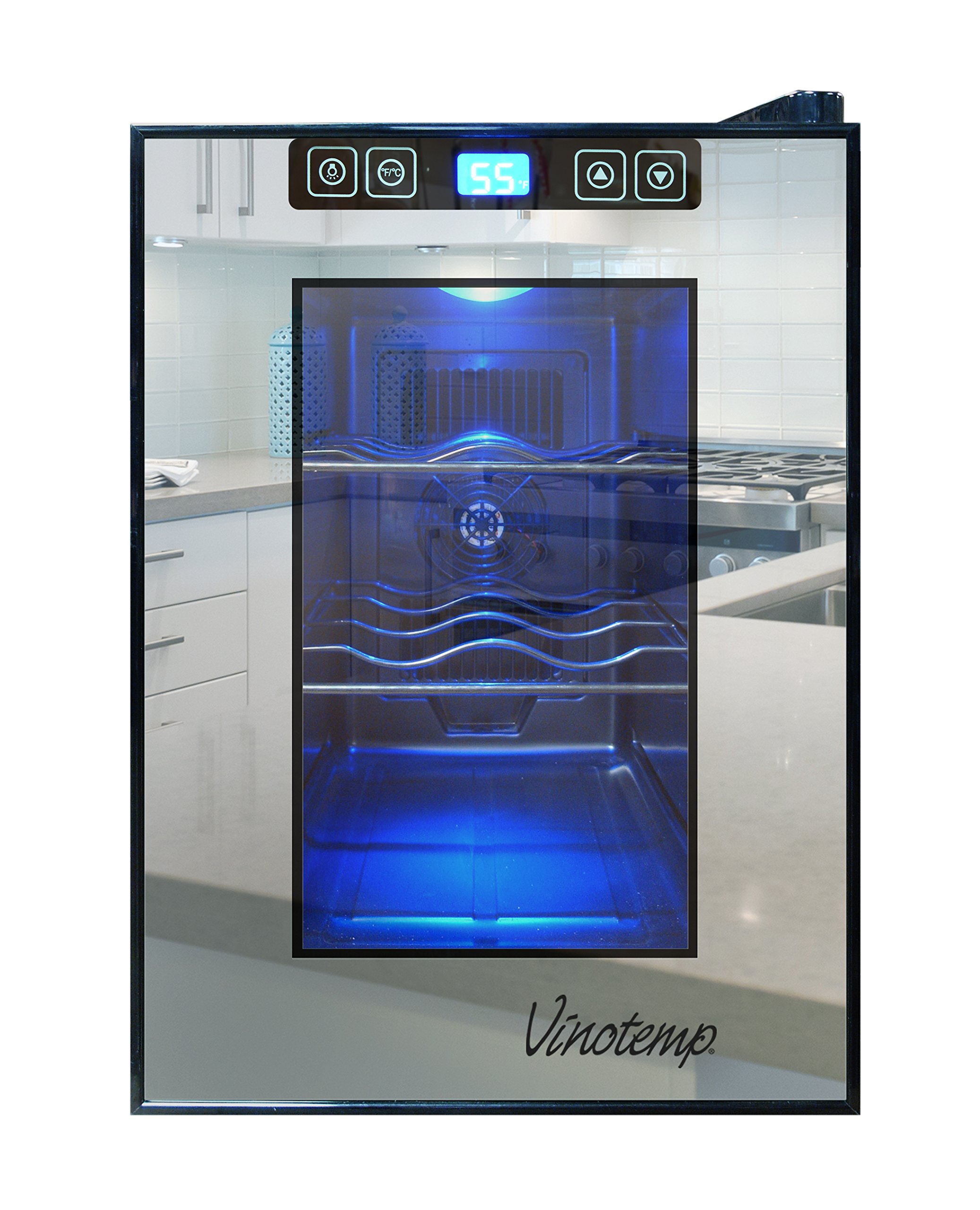 Vinotemp VT-6TSBM 6-Bottle Mirrored Thermoelectric Wine Cooler, Black
