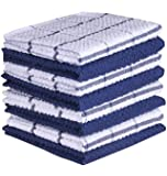 Terry Kitchen Dishcloth Set of 8 (12 x 12 Inches), Blue, 100% Cotton, Highly Absorbent, Machine Washable by CASA DECORS
