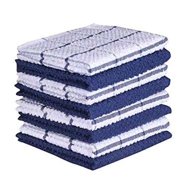 Amour Infini Cotton Terry Kitchen Dish Cloths Set of 8 (12 x 12 Inches), Blue