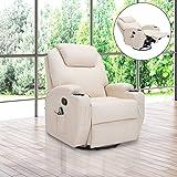 Fauteuil canapé sofa relaxation massant chauffant et vibrant inclinable pivotant à 360° similicuir 92L x 84l x 109Hcm beige 36