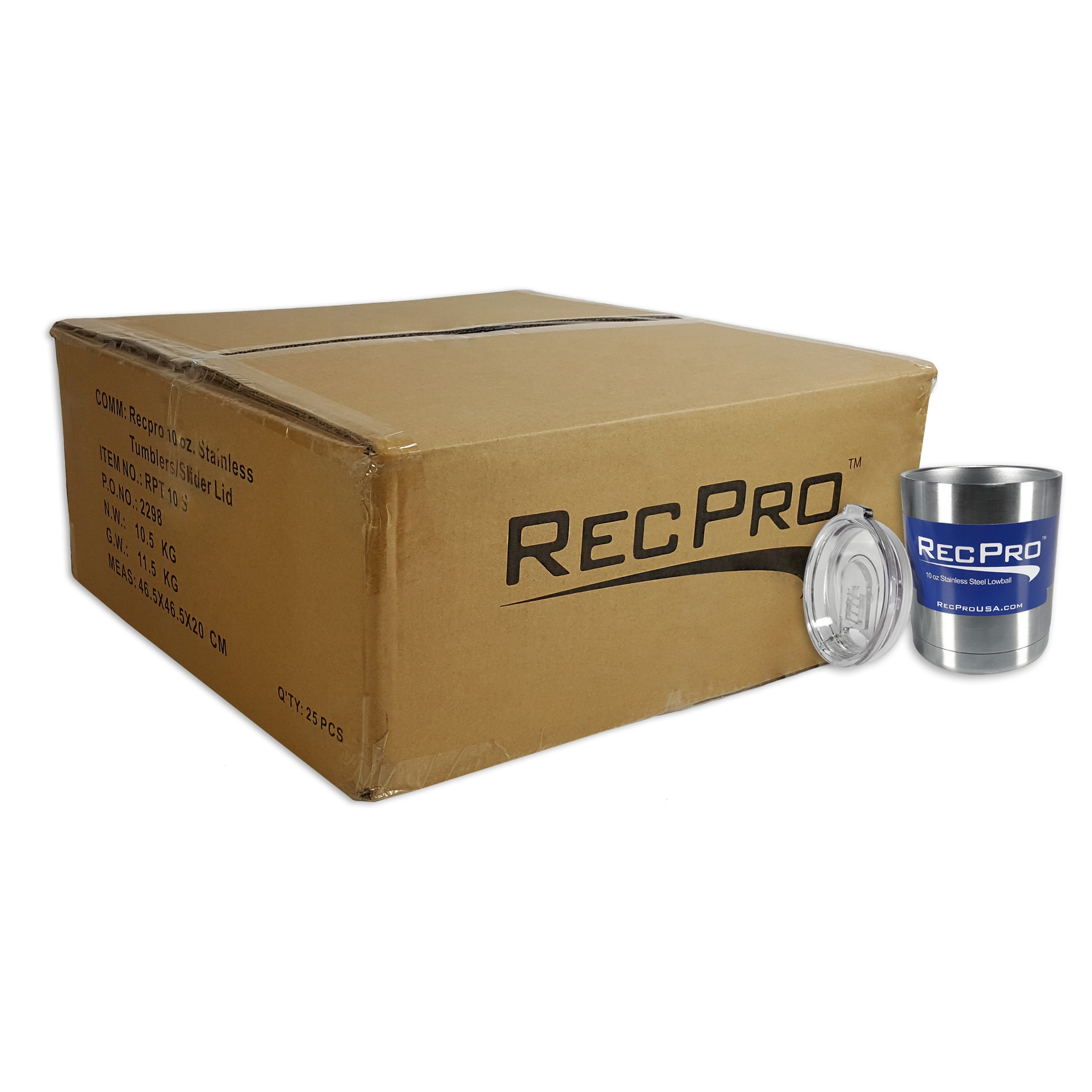 x25 RecPro 10oz Lowball Tumbler Vacuum Insulated 18/8 Stainless Steel Cup w/ Slider Lid