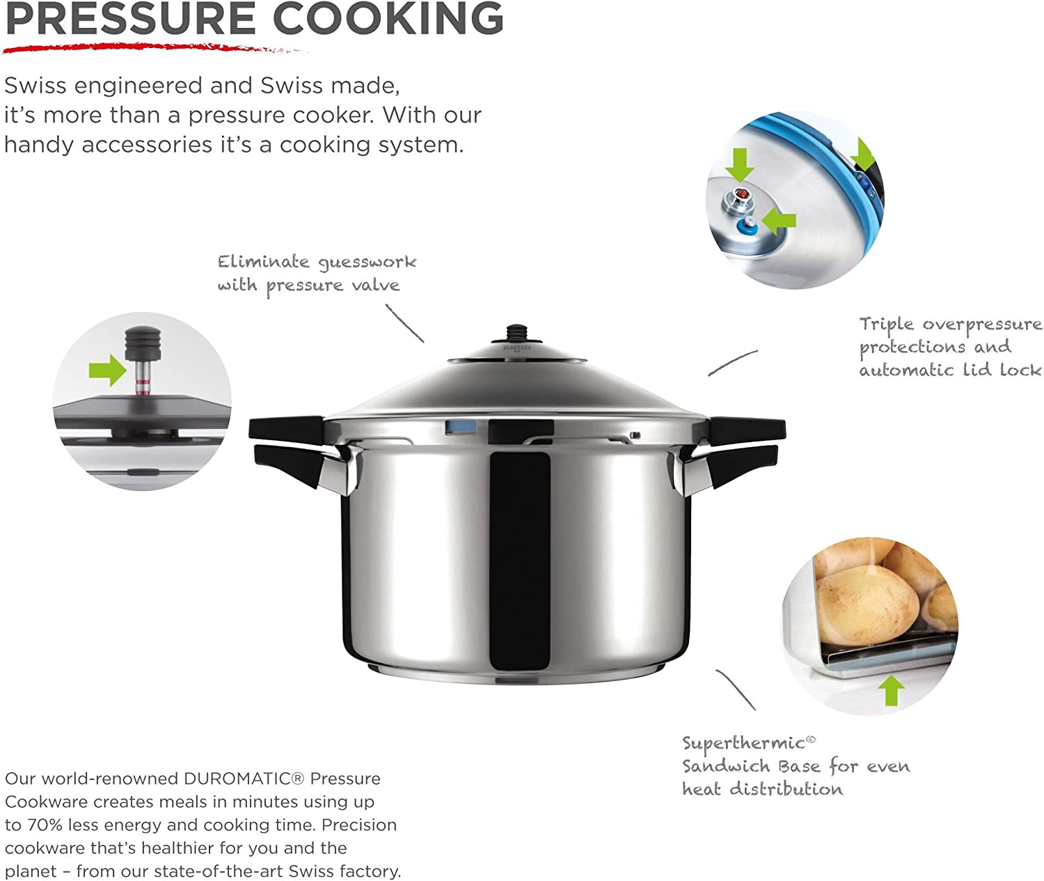 Kuhn Rikon Duromatic Hotel Stainless Steel Pressure Cooker with Side Grips, 12 Litre 28 cm
