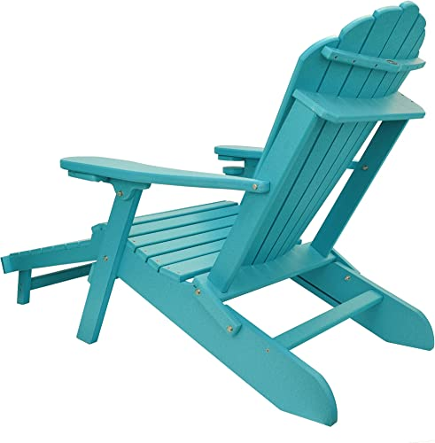 ECCB Outdoor Outer Banks Deluxe Oversized Poly Lumber Folding Adirondack Chair with Integrated Footrest Lime