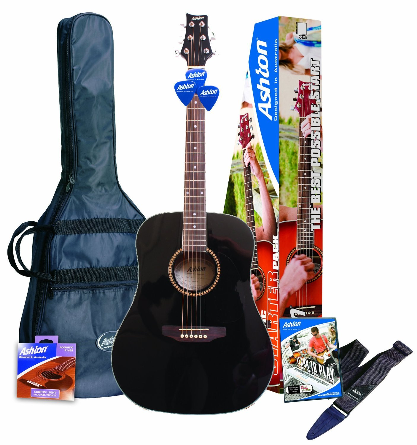 ashton spd25bk acoustic guitar starter pack musical