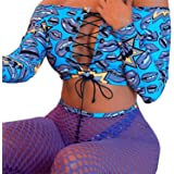 Women African Printed Crisscross Lace up Off Shoulder Bikini Set+Fishnet Tights Pants 3Pcs Bandage Swimsuit Beachwear