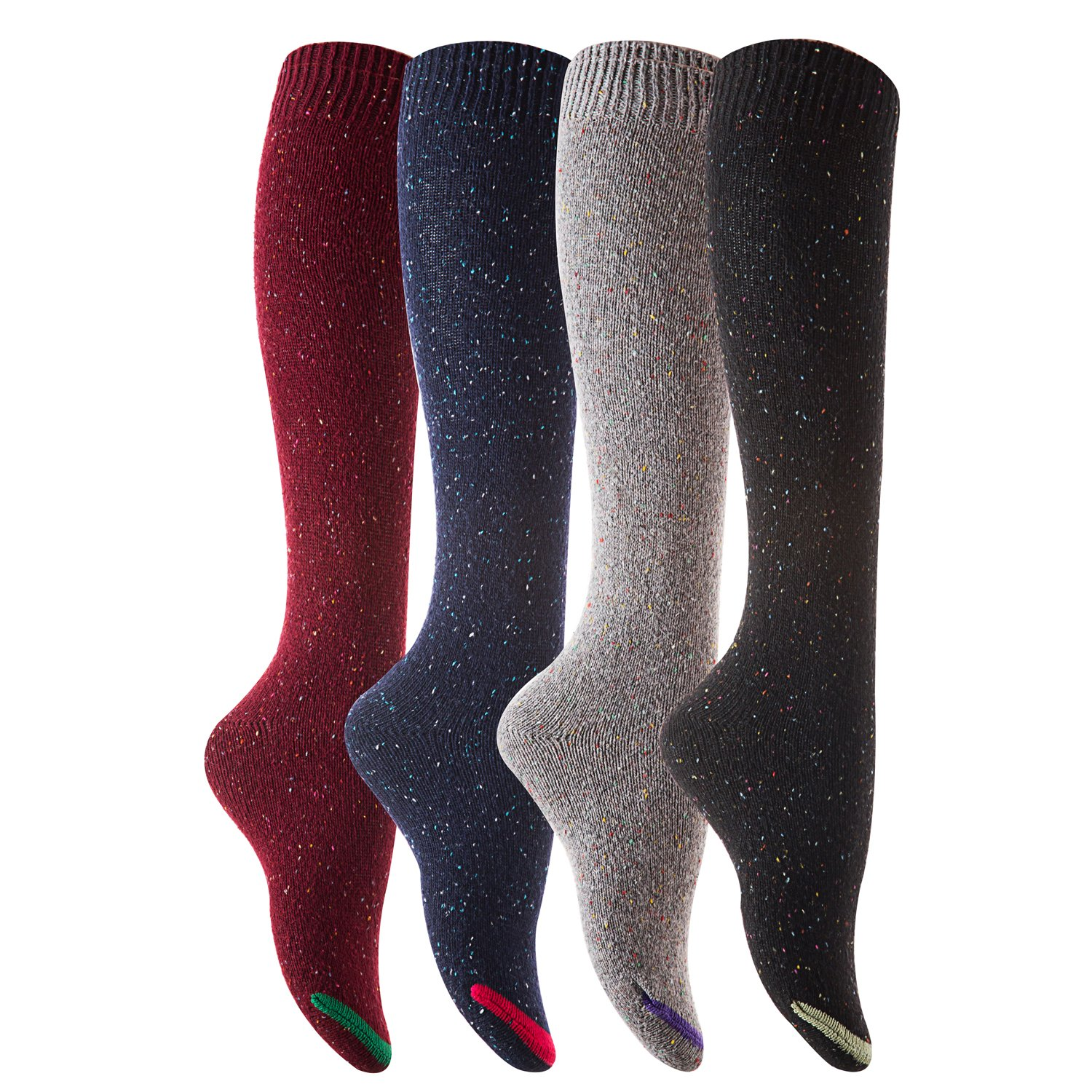 AATMart Womens 4 Pairs Pack Cozy Knee High Cotton Boot Socks Size 6-9 M8212