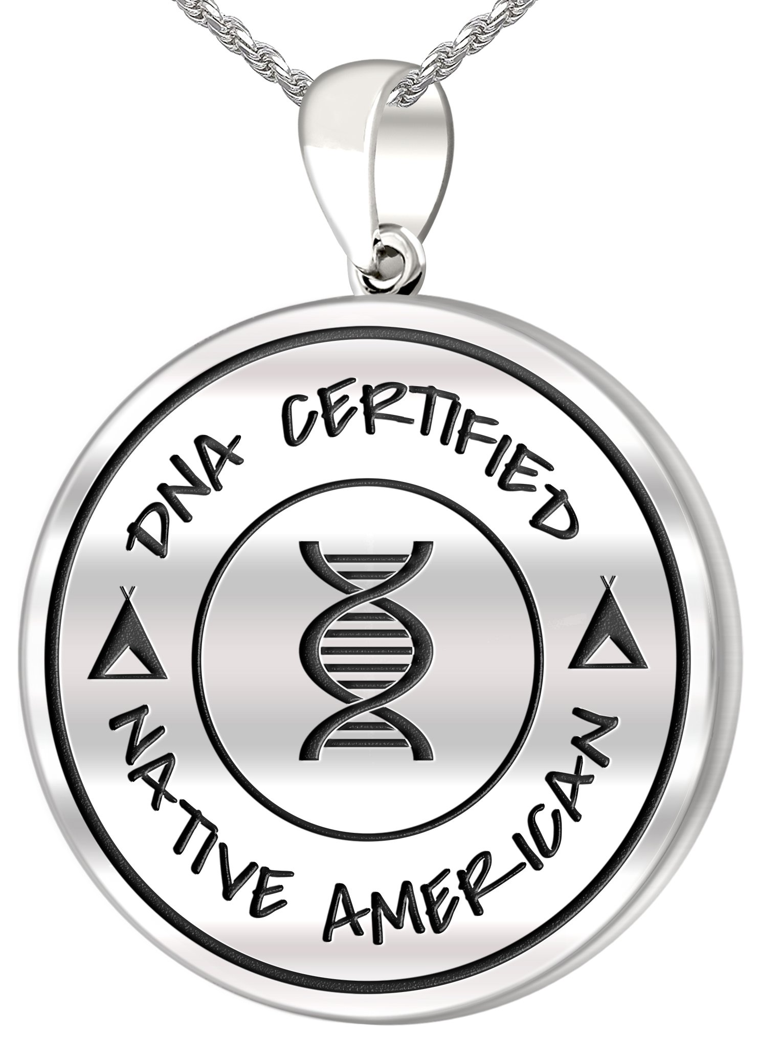 0.925 Sterling Silver 1in DNA Certified Native American Heritage Pendant Medal with Flag 3.3mm Rope Necklace, 20''