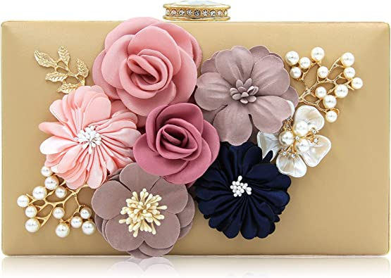 Women Floral Designer Evening Bag Metallic Evening Clutch Elegant Flower Dressy Purse for Party Wedding