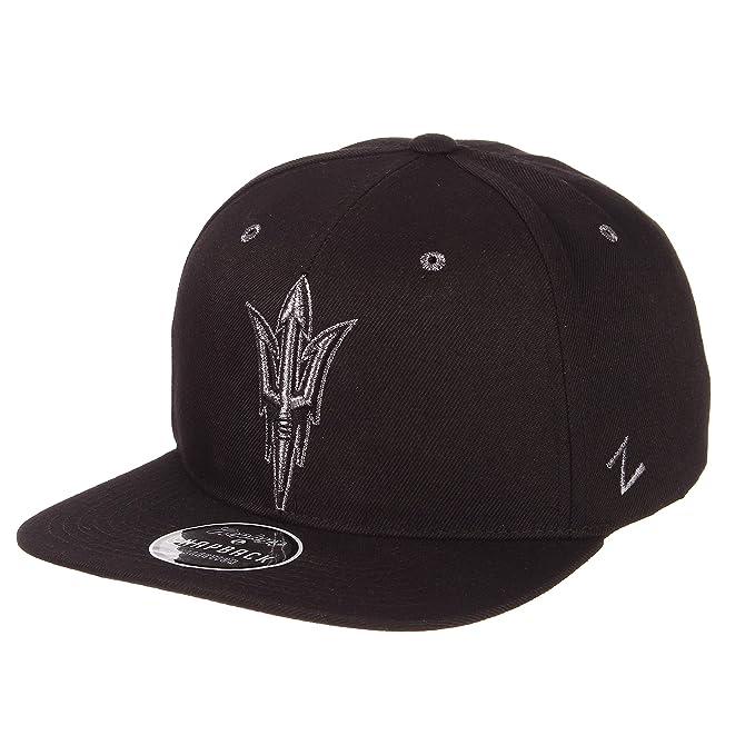 online retailer 5b79f 93dae Zephyr NCAA Arizona State Sun Devils Men s Z11 Ebony Snapback Cap,  Adjustable, Black