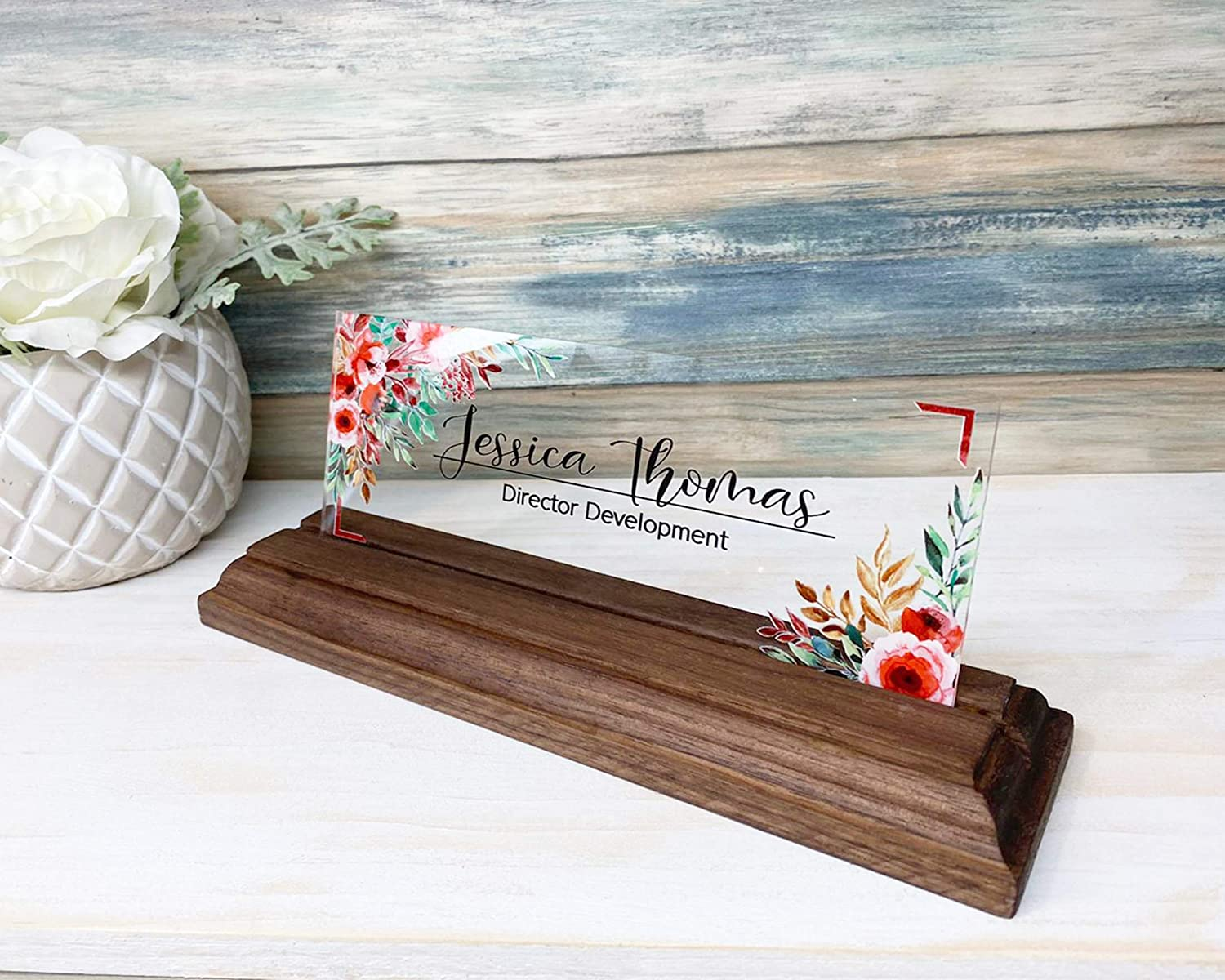 "Personalized Desk Name Plate for Women Decor Sign Modern Office Business and Teacher Name Plate Gifts for Women - (8""x3"") - Flower with Wood Base Holder"