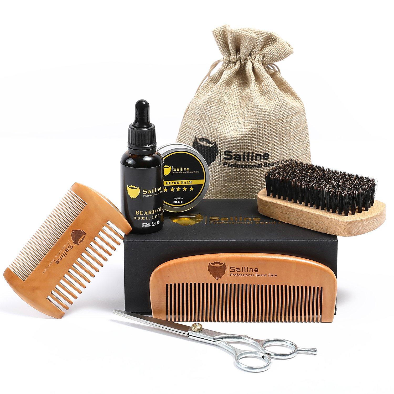 SAILINE 2018 New Beard Grooming & Trimming Kit for Men Care Beard Brush Beard Comb X2 Beard Oil Conditioner Mustache Beard Balm Butter Wax Barber Scissors Styling 6 in1 Travel Gift Set Portable Bag