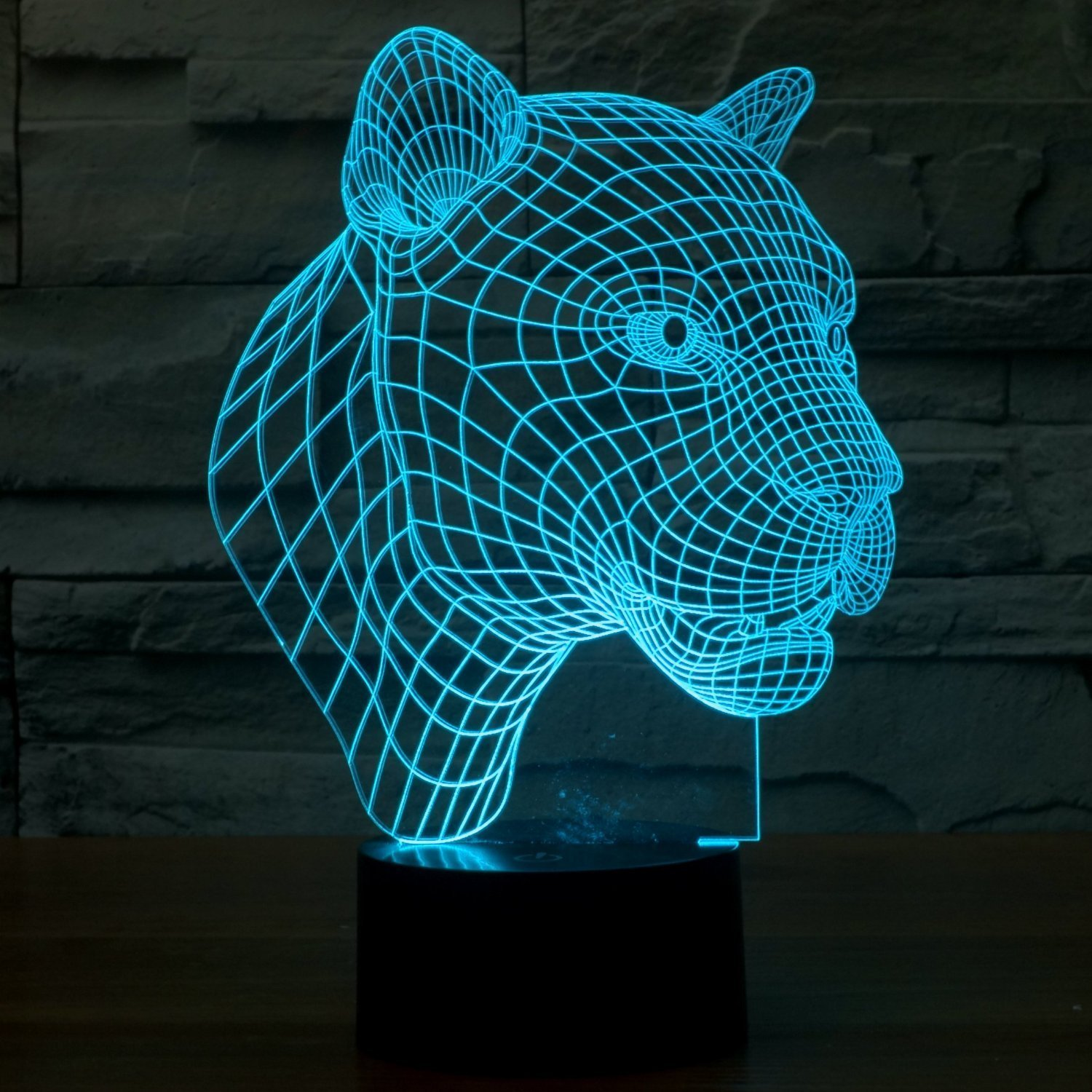 Optical Illusion 3D Lamp 7 Colour Changing Leopard head ,LED Lamp ...