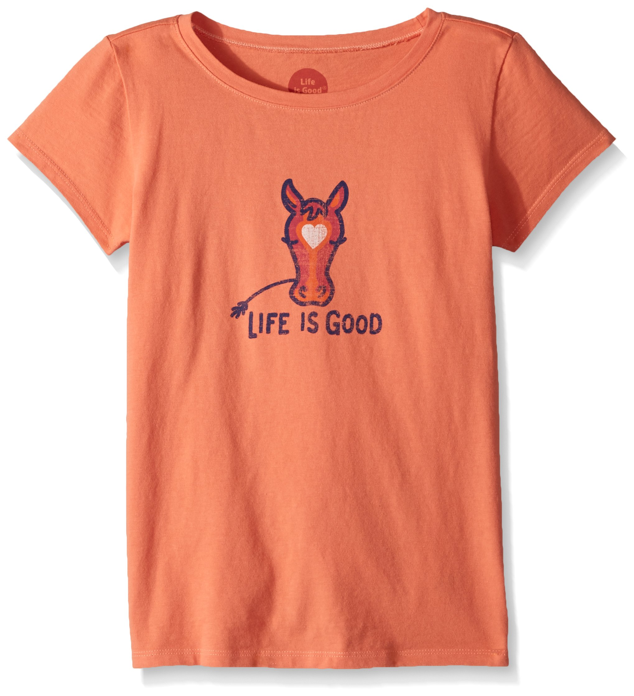 Life is Good Girl's Crusher Horse love, Fresh Coral, X-Large