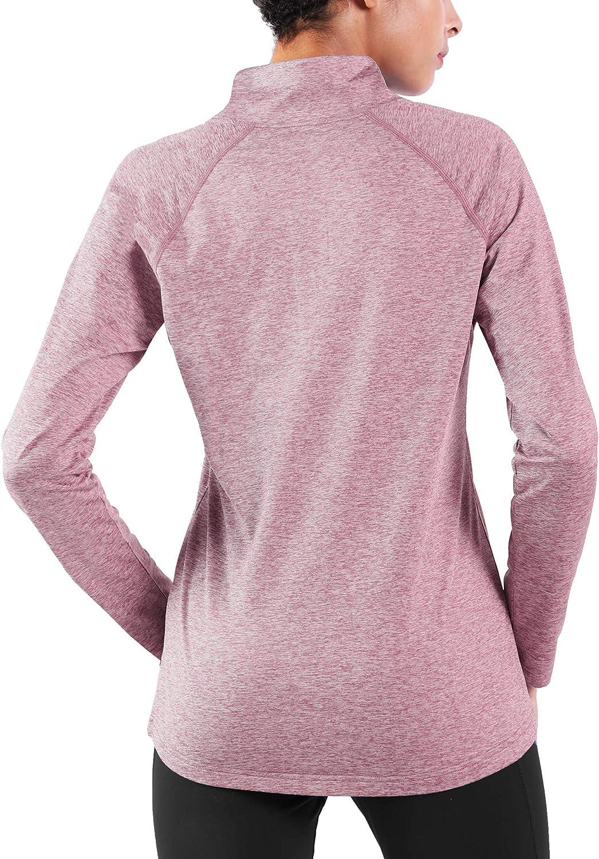 Ogeenier Fleece 1//4 Zip Camiseta Deportiva de Manga Larga con Cuello Alto Mujer Sudadera C/álida