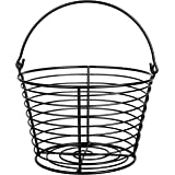 CrazyGadget® Country Farm Stye Strong Colour Metal Wire Egg Holder Stand Basket with Handle - Holds More Than 24 Eggs (Black)