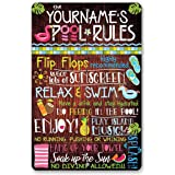 """Personalized Pool Rules - Durable Metal Sign - 8"""" x 12"""" or 12"""" x 18"""" Use Indoor/Outdoor - Great Gift and Decor for Pool Area"""