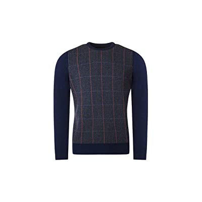 Mens Made In Scotland 100% Lambwool Dogtooth Crew Neck Pullover