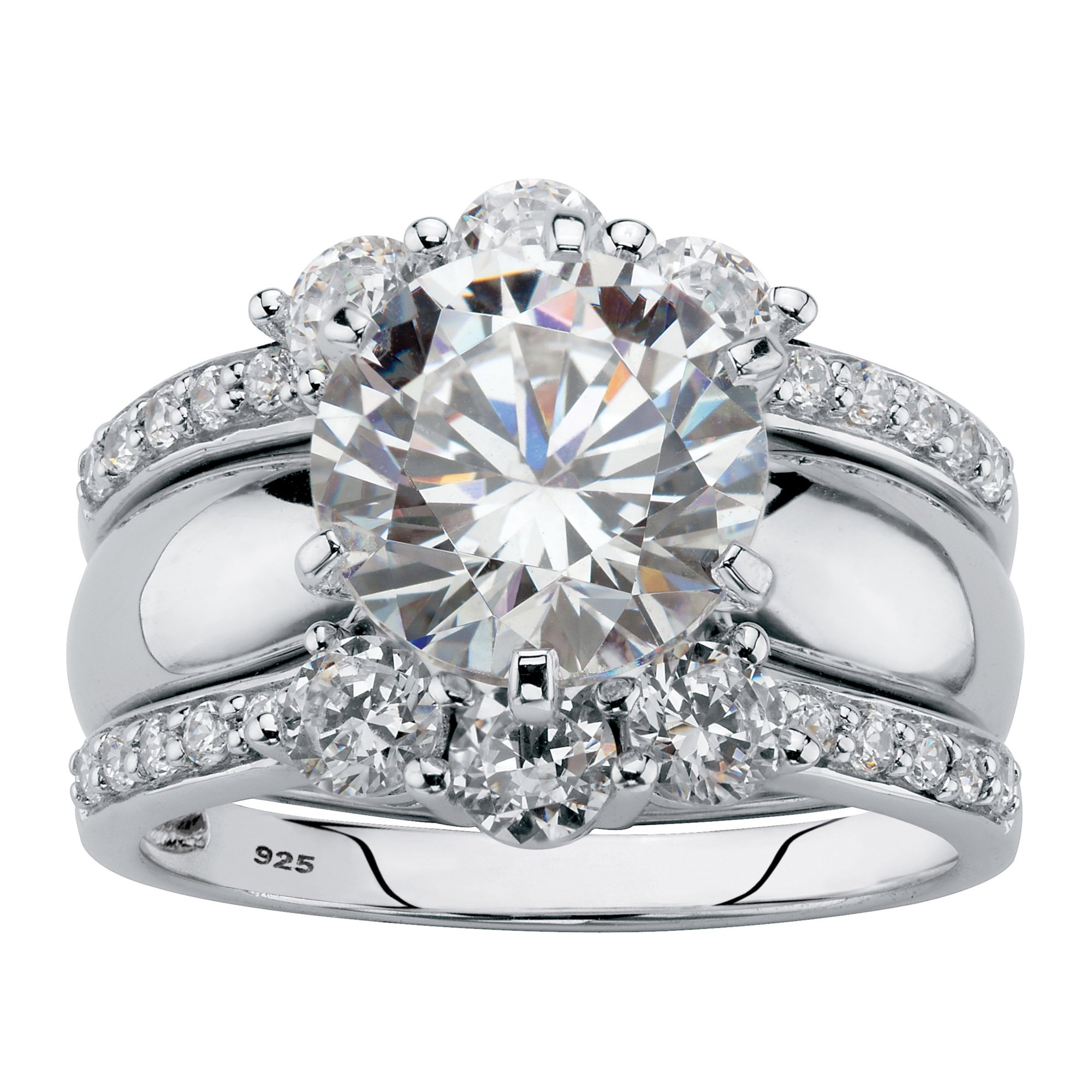 Platinum over Sterling Silver Round Cubic Zirconia Jacket Wedding Ring Set Size 8 by Palm Beach Jewelry