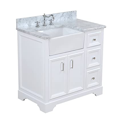 Zelda 36 Inch Bathroom Vanity Carrara White Includes A Carrara