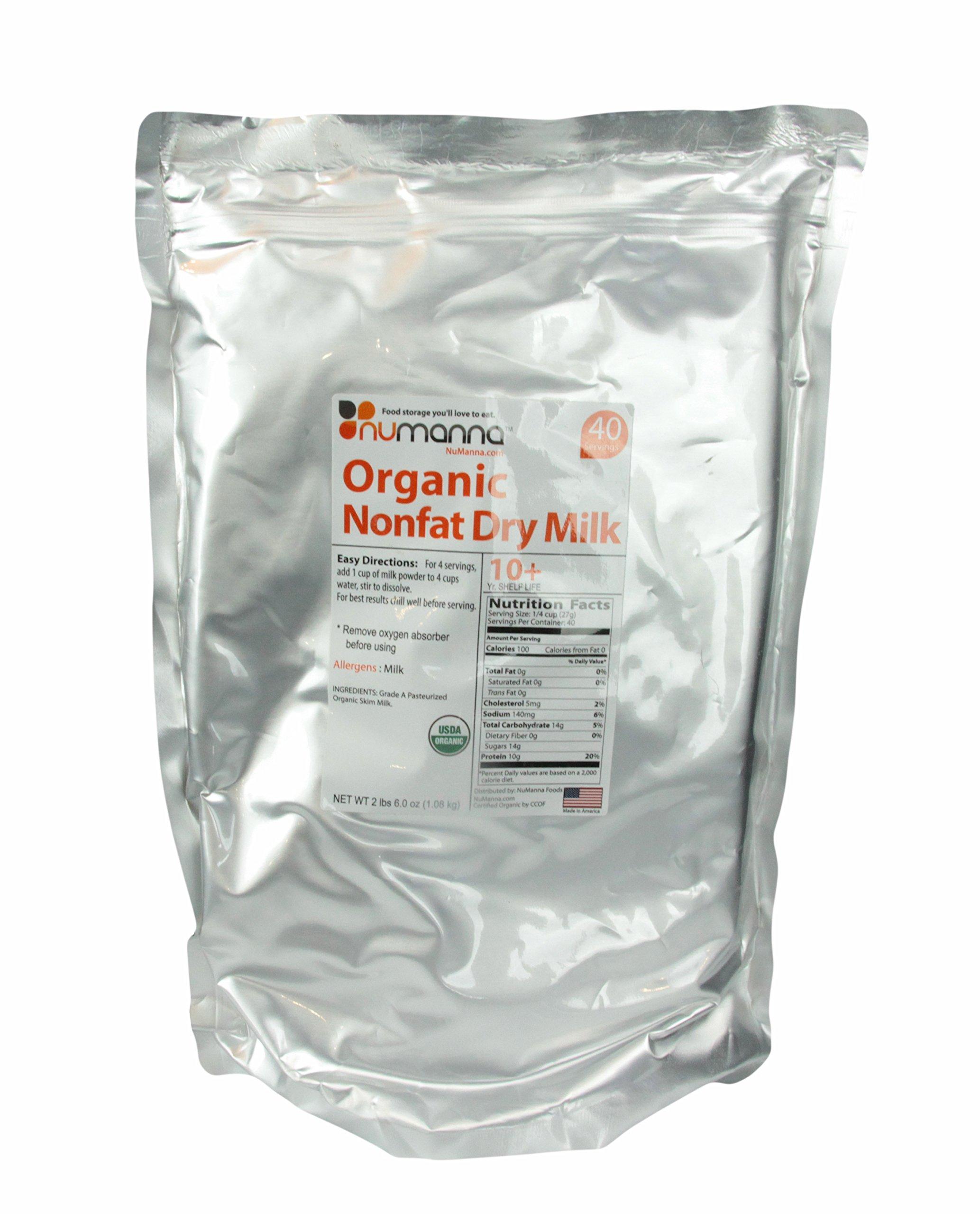 Organic Nonfat Dry Milk Powder USDA Organic 40 Serving Pouch. 10+ Shelf Life Condensed Powdered Milk