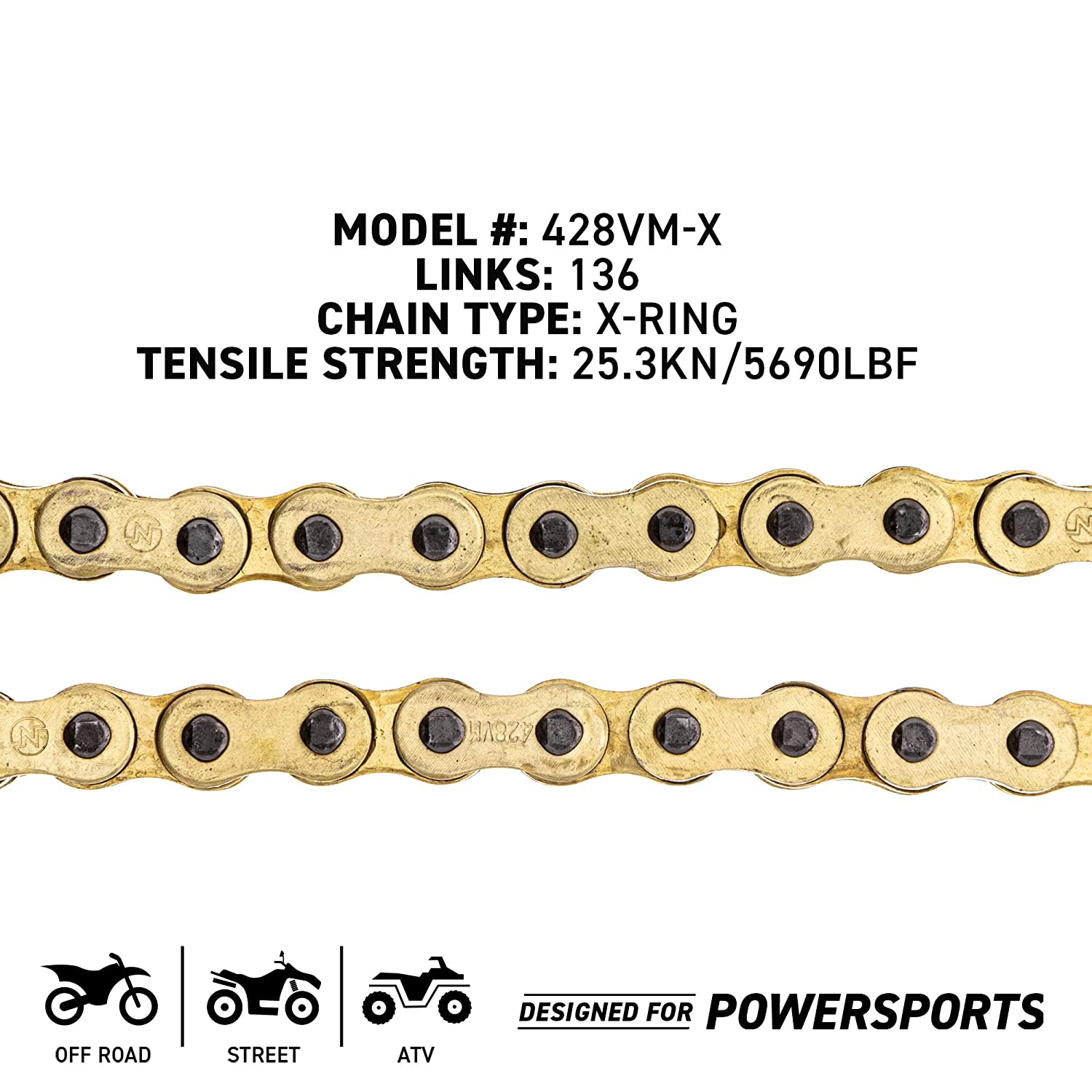 NICHE Gold 428 X-Ring Chain 118 Links With Connecting Master Link
