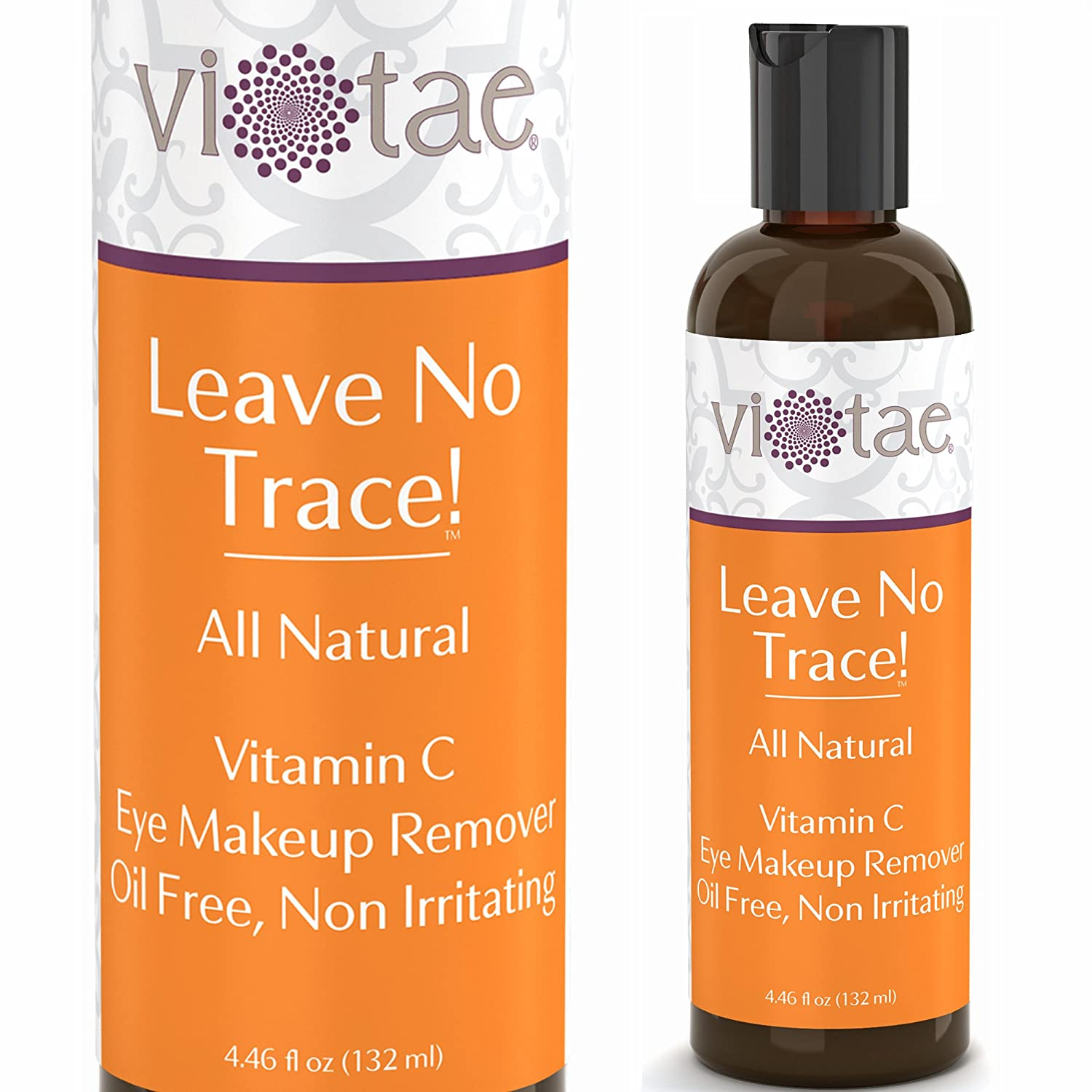 100% Natural Vitamin C Eye Makeup Remover, Oil Free, Non-Irritating - Strengthens Lashes & Nourish Delicate Eye Area - 'Leave No Trace!' by Vi-Tae - 4.46oz