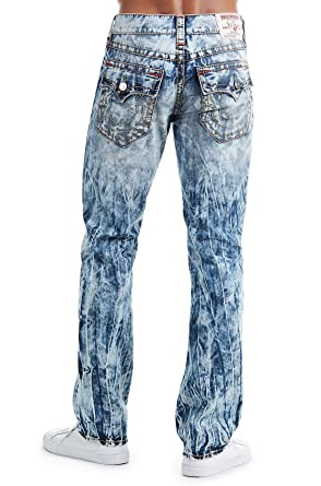 True Religion Men's Straight Leg Relaxed Fit Big T Jeans w/Flaps in Moving  Water