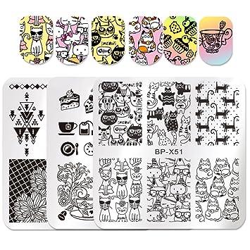 amazon com born pretty nail art stamping template cute cat cake