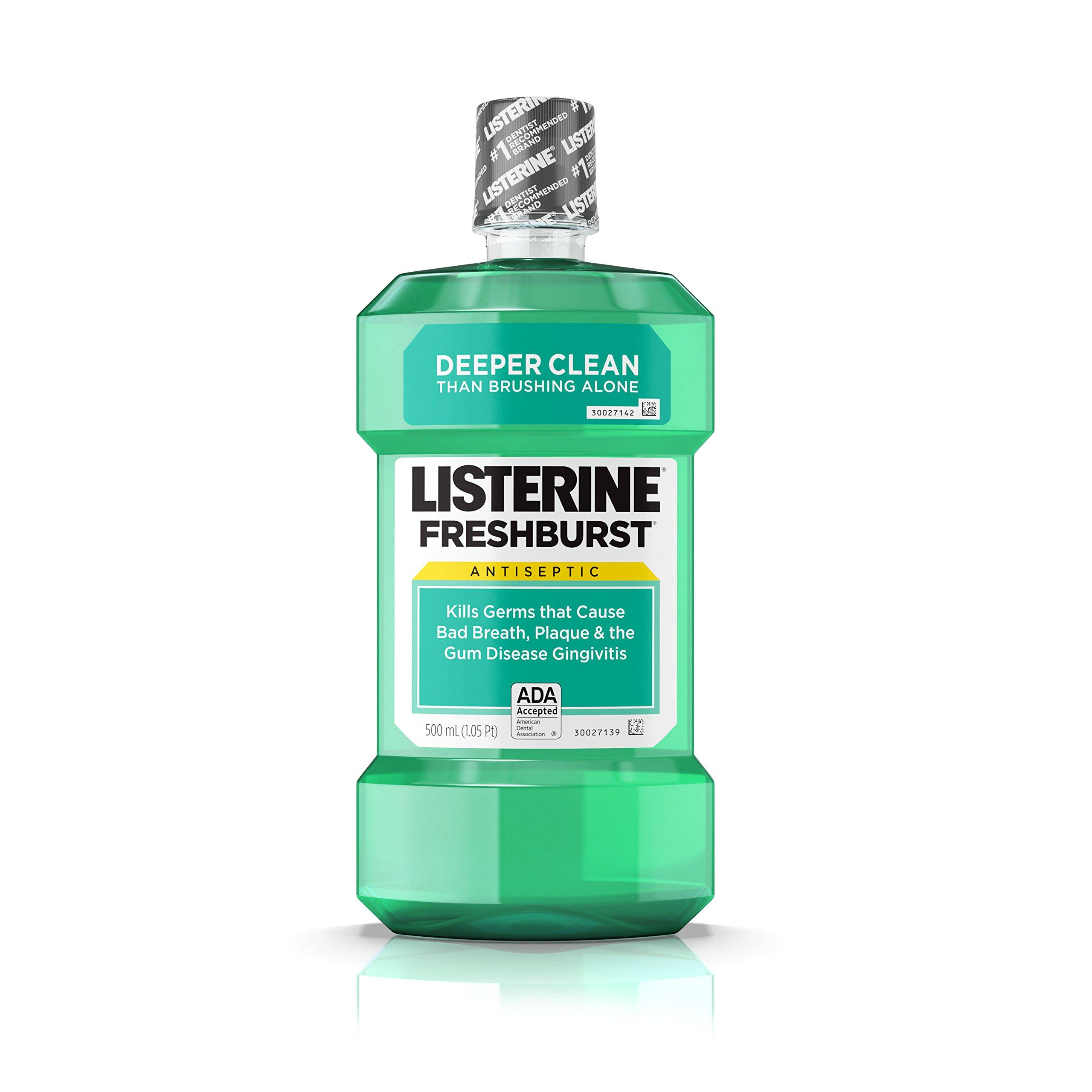Listerine Antiseptic Mouthwash, Fresh Burst, 500 ml (Pack of 12)