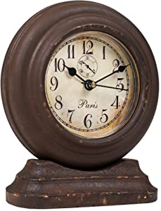The Country House Collection Small French Pedestal Aged Brown 6 x 5 Wooden Table Top Analog Clock