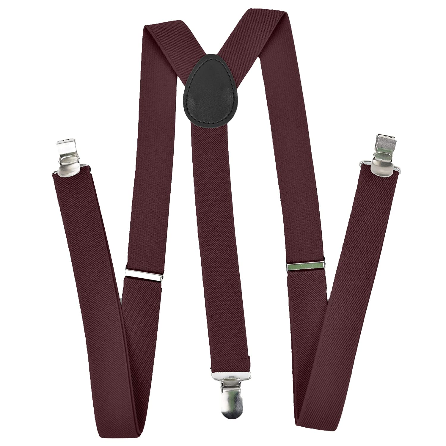Classy Mens Suspenders 1 Width Adjustable Elastic Straps by Star Falcons Brown Comfortable Hold Y Back Design
