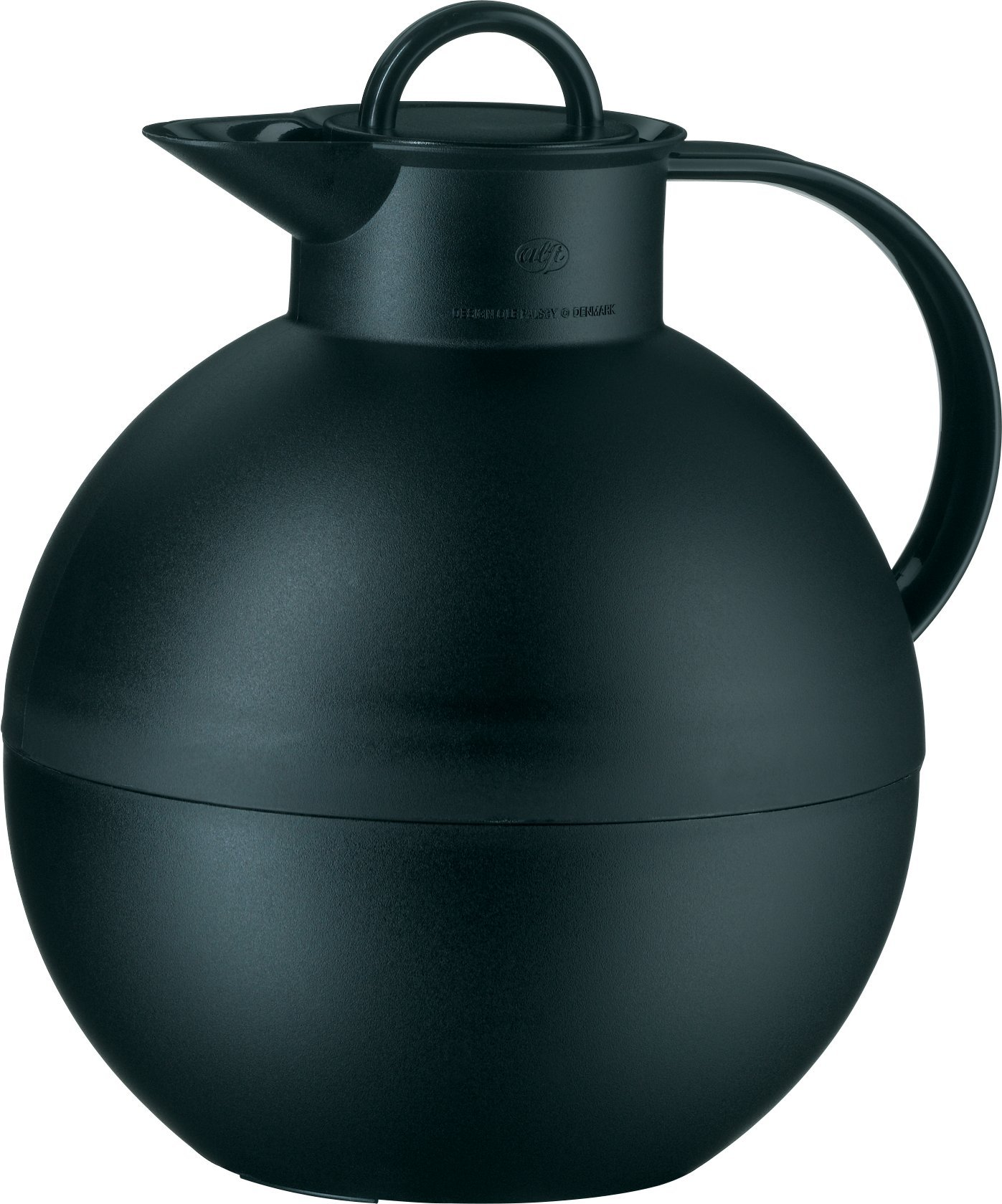 alfi Kugel Glass Vacuum Frosted Plastic Thermal Carafe for Hot and Cold Beverages, 0.94 L, Black