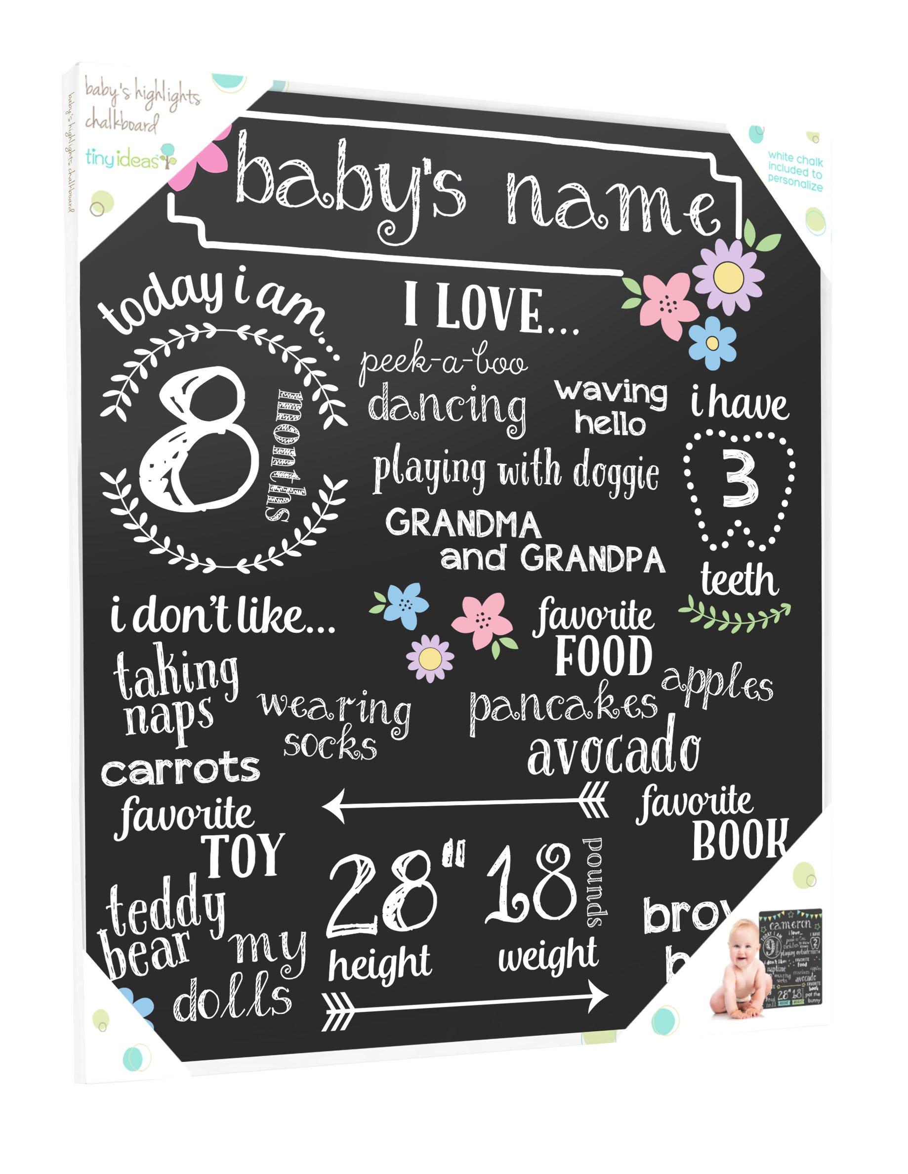 Tiny Ideas Babyu0027s Monthly Chalkboard, Girl, Black