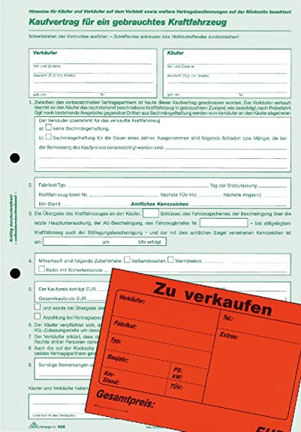 Amazon Com Rnk 586 10 Used Car Purchase Agreement Form German Din
