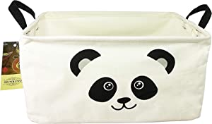 HUNRUNG Rectangle Storage Basket Cute Canvas Organizer Bin for Pet/Kids Toys, Books, Clothes Perfect for Kid Rooms/Playroom/Shelves (L, Panada)