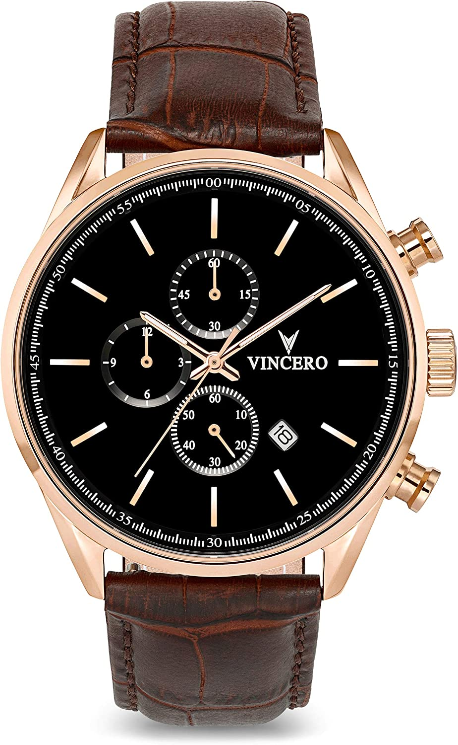 Vincero Luxury Men s Chrono S Wrist Watch – Top Grain Italian Leather Watch Band – 43mm Chronograph Watch – Japanese Quartz Movement