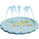 "SplashEZ USA 3-in-1 Splash Pad, Sprinkler for Kids and Toddler Pool for Learning – Children's Sprinkler Pool, 60'' Inflatable Water Toys – ""Around The World"" Outdoor Kiddie Pool for Babies & Toddlers"