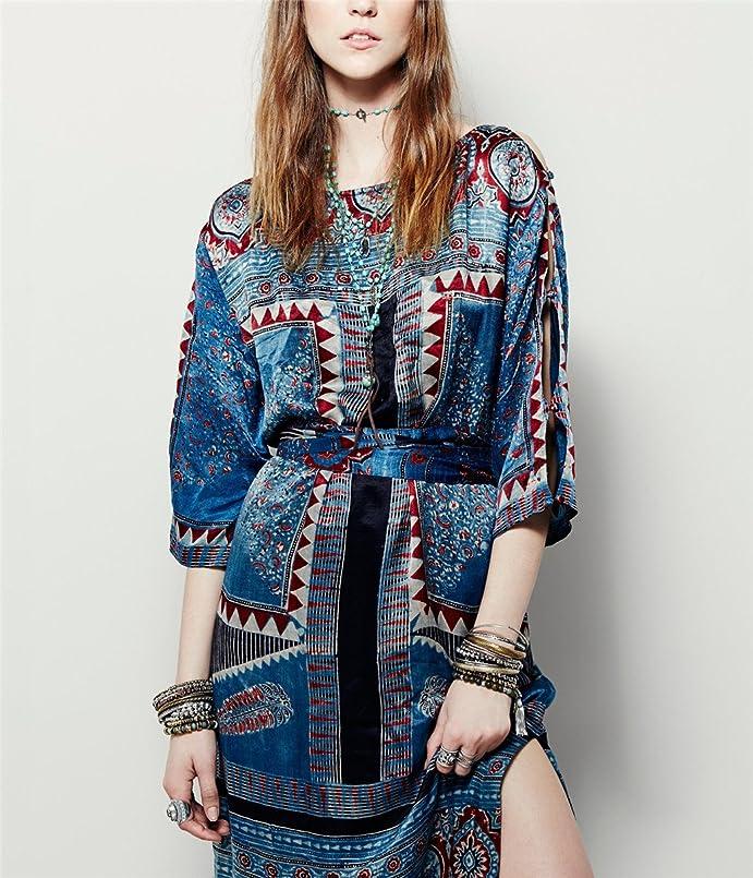 Amazon.com: Paule Trevelyan NEW quente cinto fino falso vestido de seda de impressão do vintage impresso primavera outono vestidos gancho elegante vestido ...