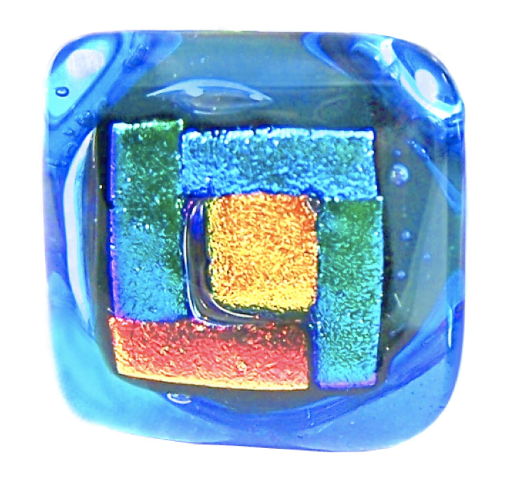 Dichroic Glass Knobs Custom Made Craftsman Geometric Blocks - Cabinet or Drawer Pull Handle - 1'' / 30mm - Green Cobalt Blue Turquoise Aqua Copper Orange Gold Fused Glass Stained Glass Handcrafted