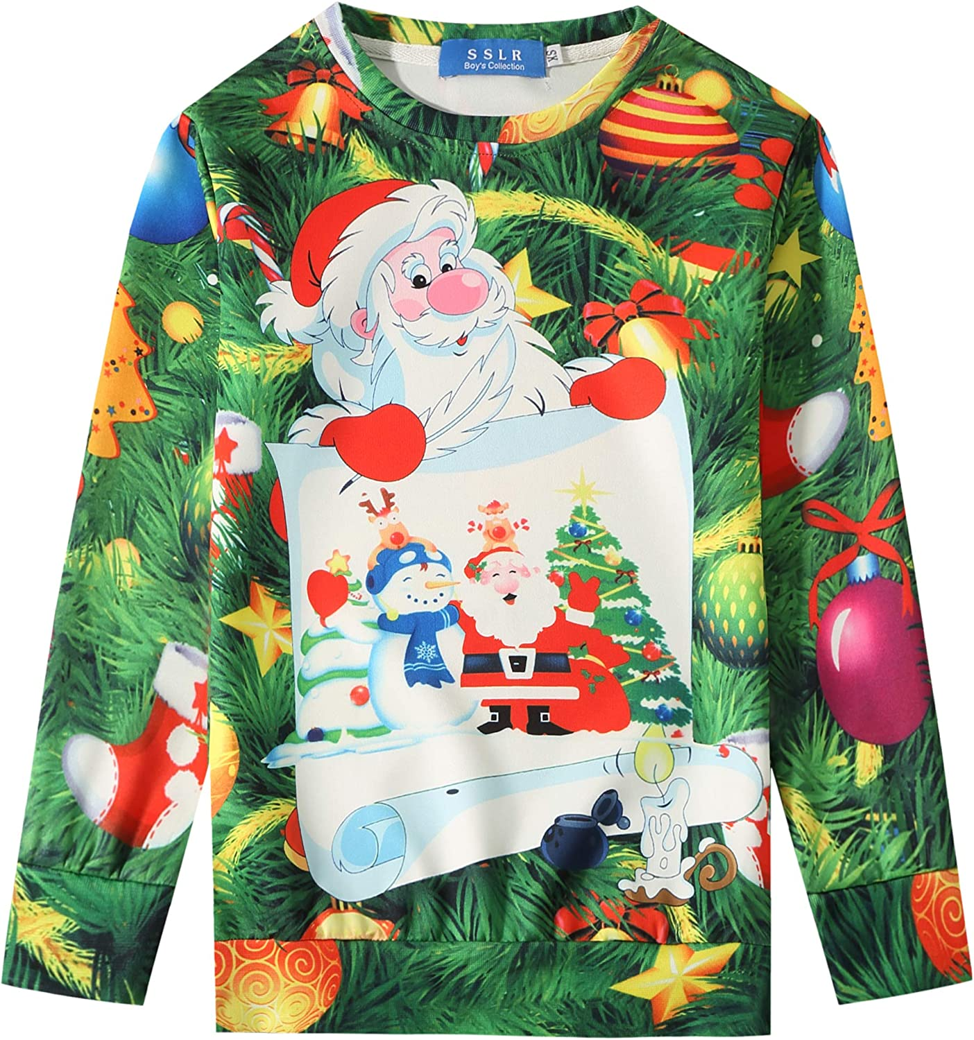 Mens Funny Santa Claus Cotton Crewneck Sweater Ugly Christmas Long Sleeve Knit Sweatshirt